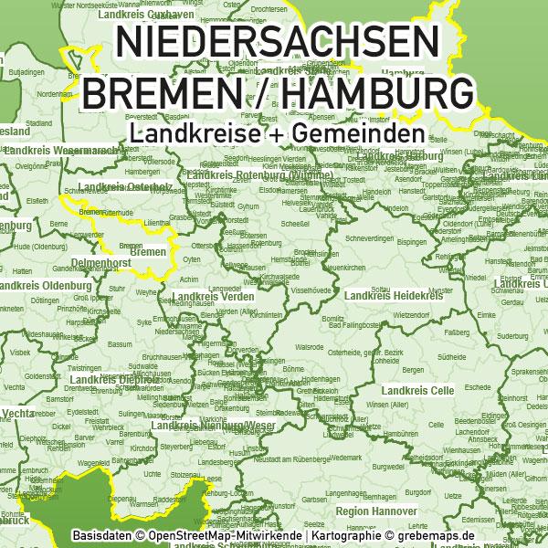 Niedersachsen Bremen Hamburg PowerPoint-Karte Landkreise Gemeinden