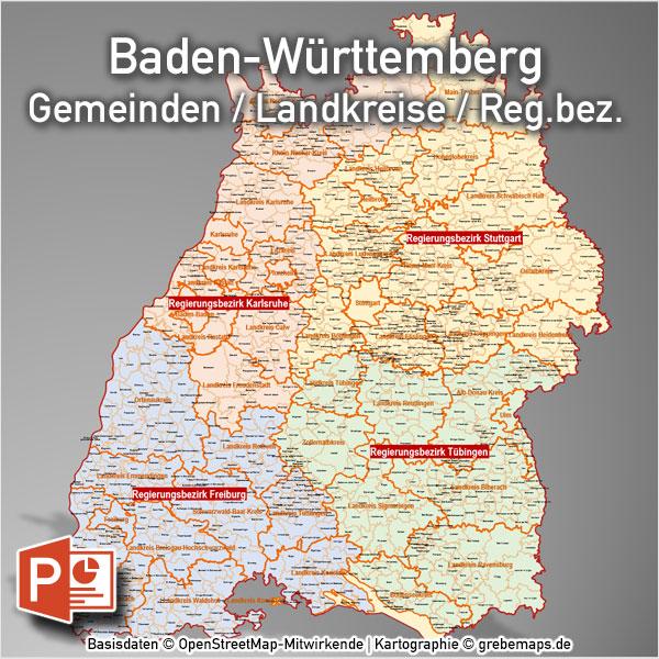 Baden-Württemberg PowerPoint-Karte Landkreise Gemeinden