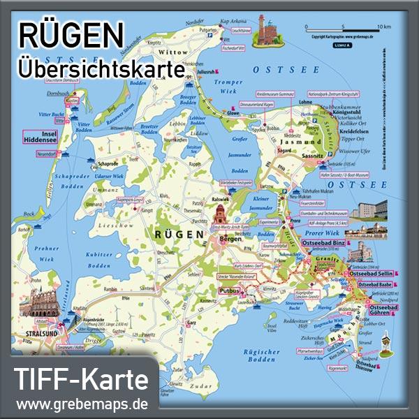 Rügen Übersichtskarte Mit Sehenswürdigkeiten (Lizenz XL)