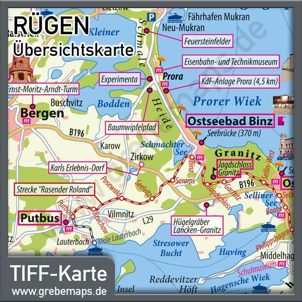 Rügen Übersichtskarte Mit Sehenswürdigkeiten, Landkarte Rügen Übersicht, Karte Rügen, Inselkarte Rügen, TIFF, Print