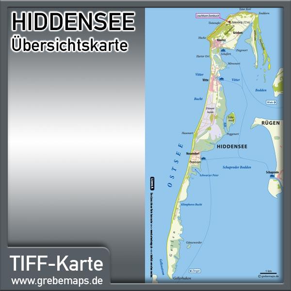 Hiddensee Übersichtskarte (Lizenz XL)