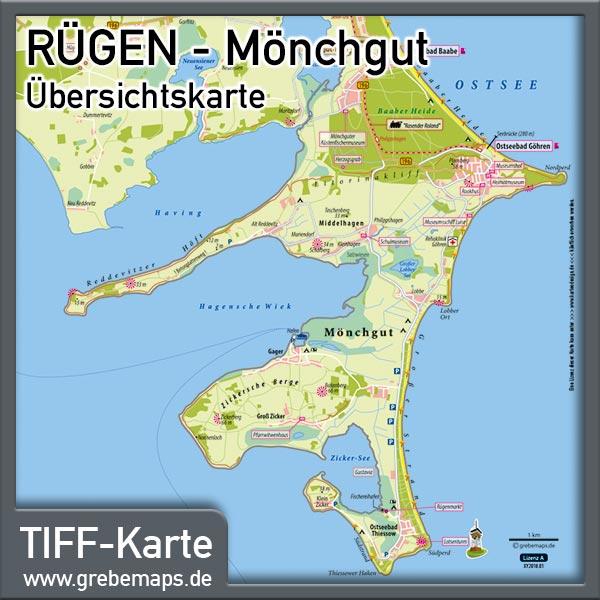 Rügen Mönchgut Übersichtskarte Mit Sehenswürdigkeiten (Lizenz XL)