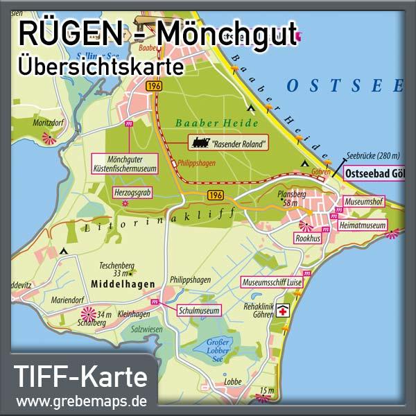 Rügen Mönchgut Übersichtskarte, Karte Möchgut Rügen, Karte Rügen Mönchgut, Landkarte Rügen Mönchgut, Inselkarte Mönchgut Auf Rügen