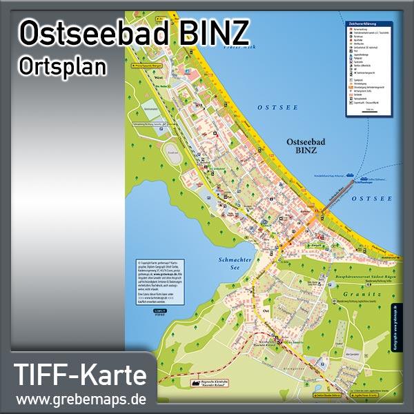 Ortsplan Binz Ostseebad Auf Rügen (Lizenz XL)