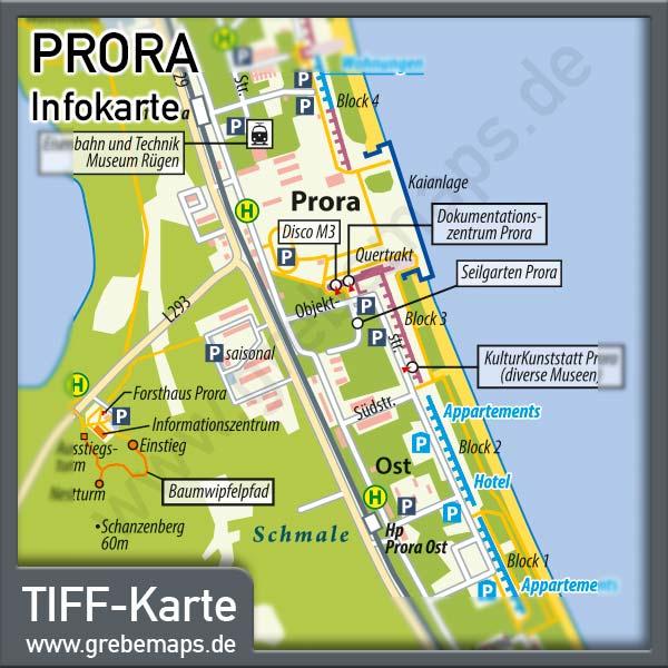 Prora Binz Rügen Infokarte, Karte Prora, Info-Karte Prora