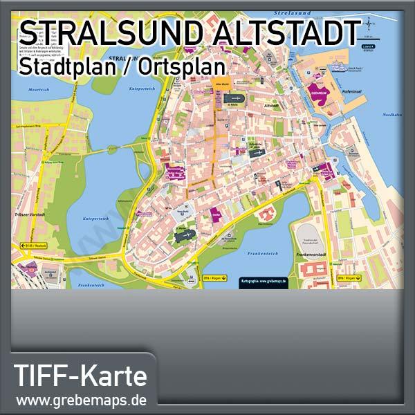Stadtplan Stralsund-Altstadt (Lizenz XL)