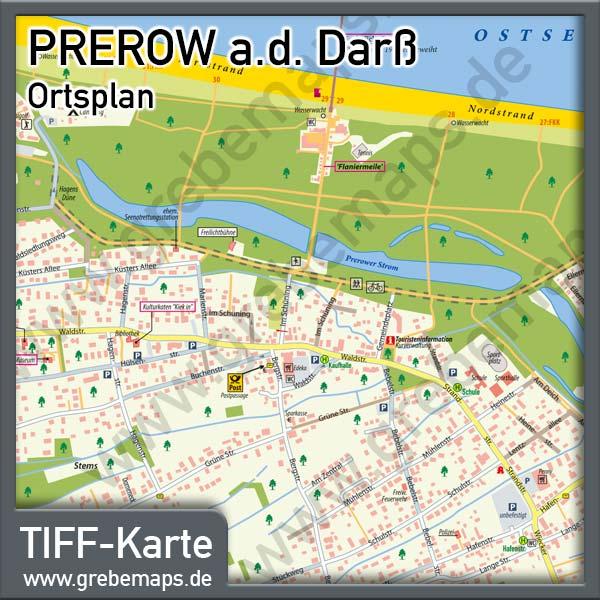 Ortsplan Prerow Ostseebad Auf Dem Darß, Karte Prerow, Stadtplan Prerow, Landkarte Prerow