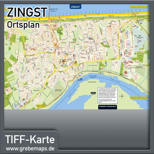 Ortsplan Zingst Ostseeheilbad (Lizenz XL)