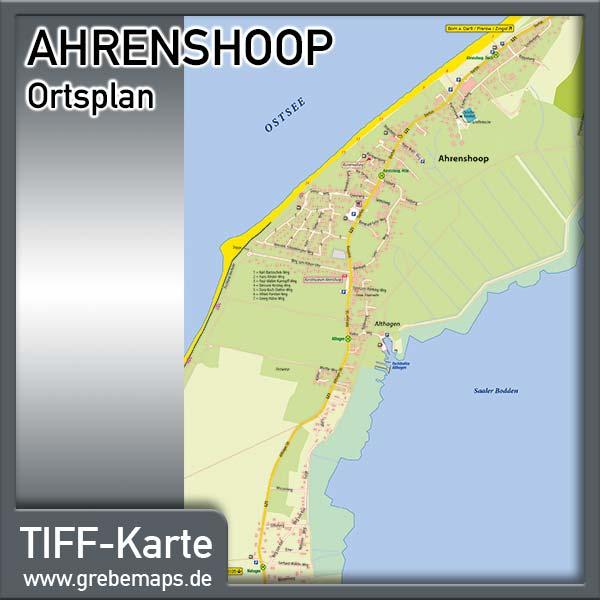 Ortsplan Ahrenshoop Ostseebad, Karte Ahrenshoop, Ortplan Ahrenshoop