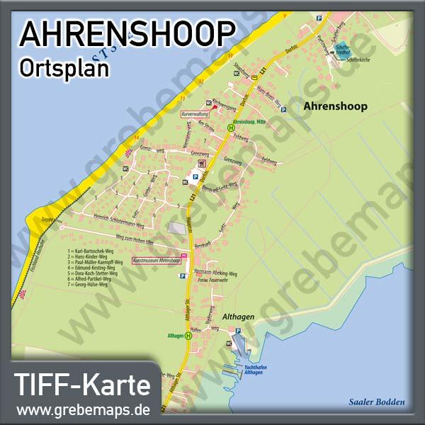 Ortsplan Ahrenshoop Ostseebad Fur Print Drucksachen Flyer
