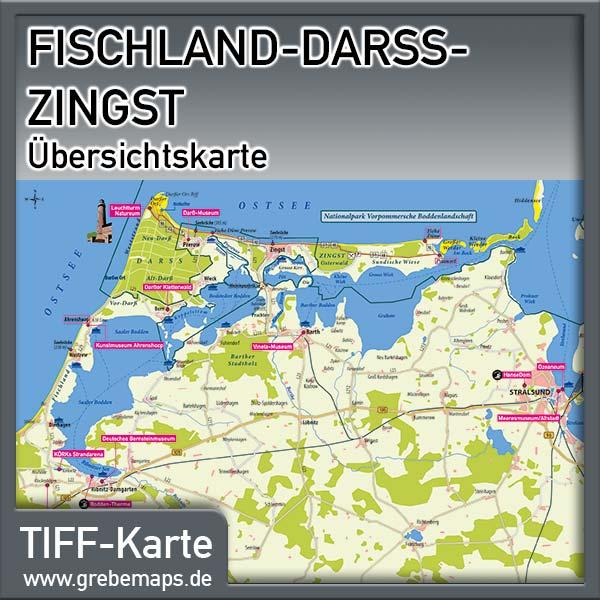 Fischland-Darß-Zingst Übersichtskarte Mit Sehenswürdigkeiten (Lizenz XL)
