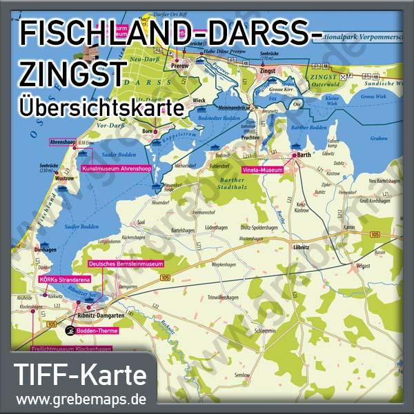 Fischland Darss Zingst Ubersichtskarte Mit Sehenswurdigkeiten Fur Print