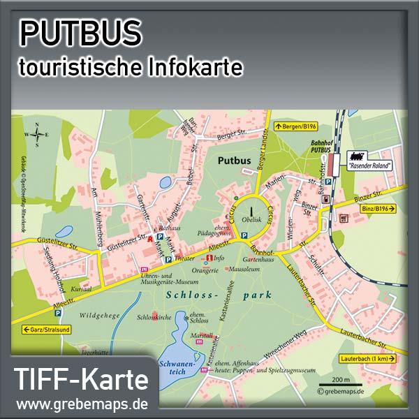 Putbus Rügen Infokarte (Lizenz XL)