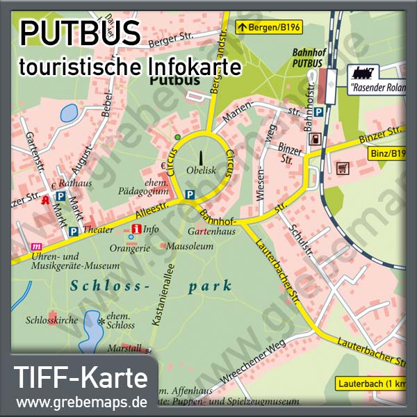 Putbus Rügen Infokarte, Karte Putbus, Touristische Infokarte Putbus