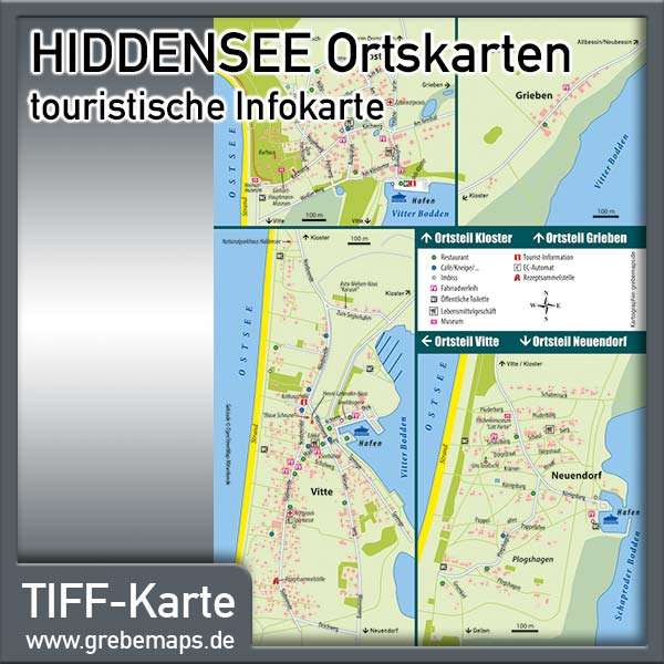 Hiddensee Ortsteile Kloster Vitte Neuendorf Infokarte (Lizenz XL)