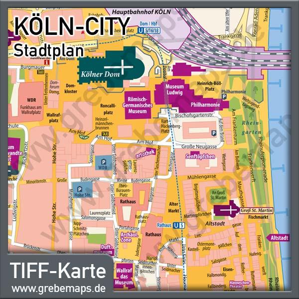 köln sehenswürdigkeiten karte Stadtplan Köln City für Print/Drucksachen/Flyer mit Sehenswürdigkeiten köln sehenswürdigkeiten karte