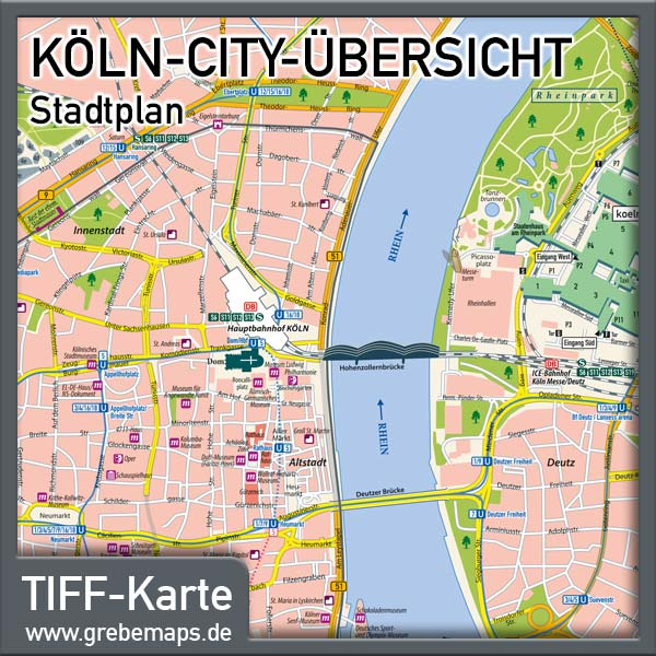 stadtplan k ln city f r print drucksachen flyer mit sehensw rdigkeiten. Black Bedroom Furniture Sets. Home Design Ideas