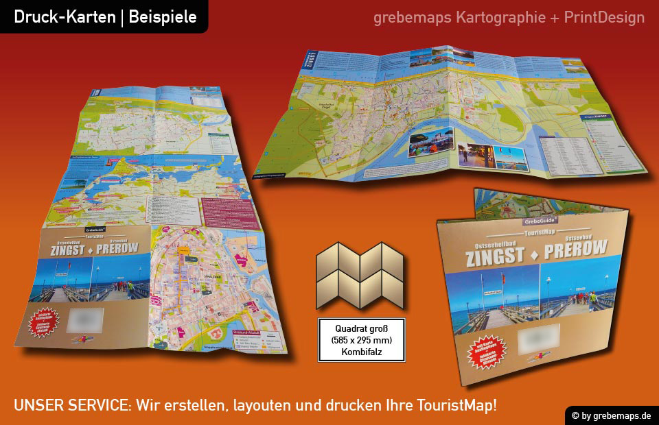 Ortsplan Prerow Ostseebad auf dem Darß, Karte Prerow, Stadtplan Prerow, Landkarte Prerow, touristische Karte, TouristMap