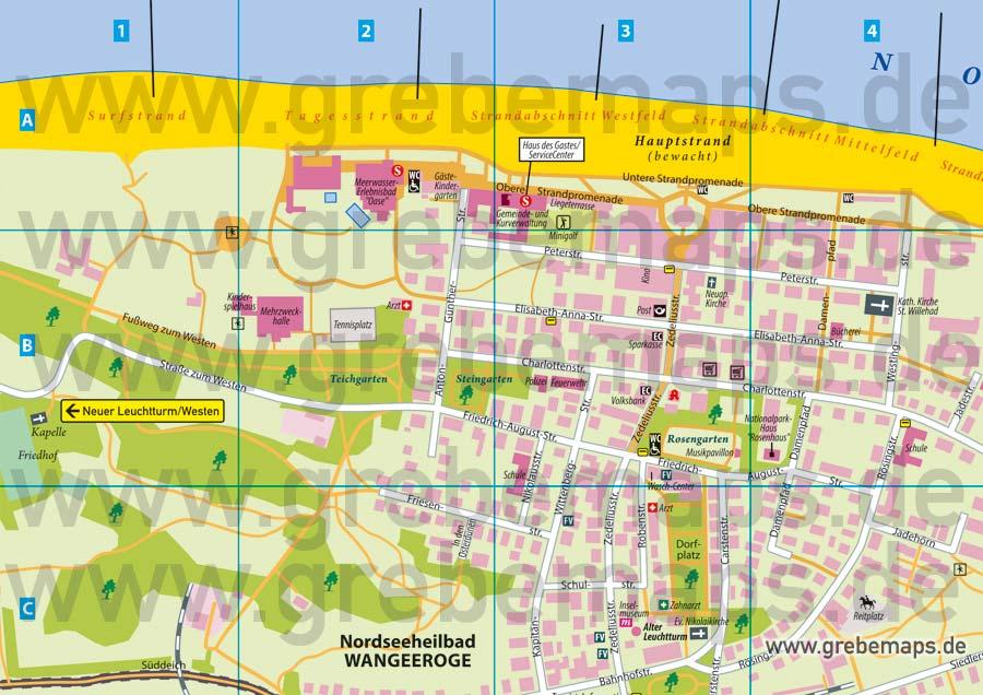 Ortsplan Wangerooge Nordseeheilbad, Karte Wangerooge, Plan Wangerooge