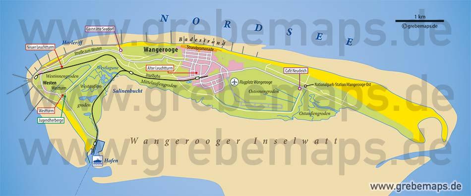 Inselkarte Wangerooge Nordseeheilbad, Karte Wangerooge, Insel Wangerooge Karte