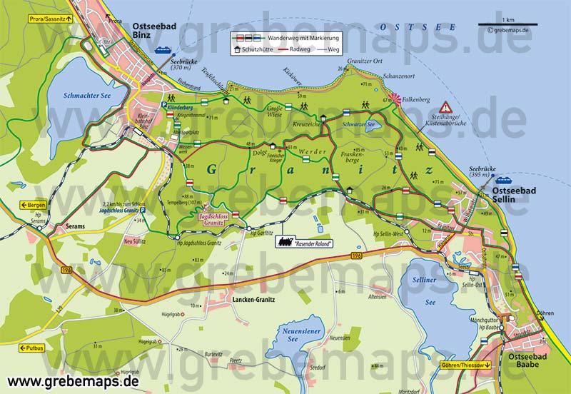 Karte Rügen Granitz, Touristische Karte Granitz, Wanderkarte Granitz, Infokarte Granitz