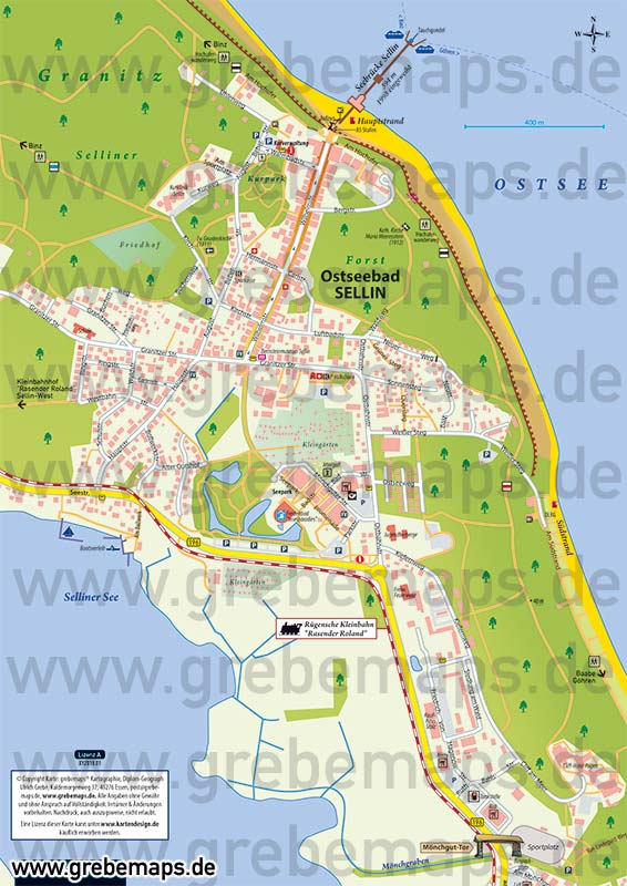 Ortsplan Sellin Ostseebad Auf Rügen, Karte Sellin Rügen