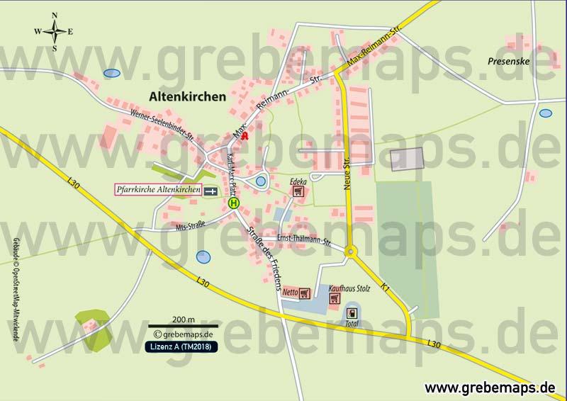 Ortsplan Altenkirchen Rügen, Karte Altenkirchen