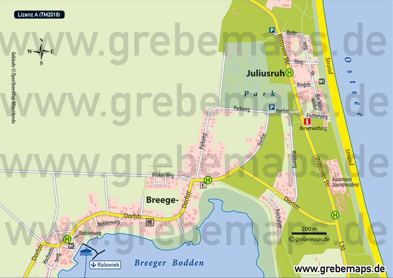 Ortsplan Breege-Juliusruh Rügen, Karte Breege-Juliusruh