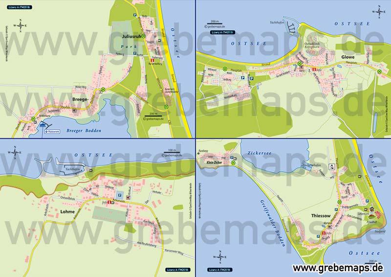 Ortskarte Glowe, Lohme, Breege-Juliusruh, Thiessow Auf Rügen