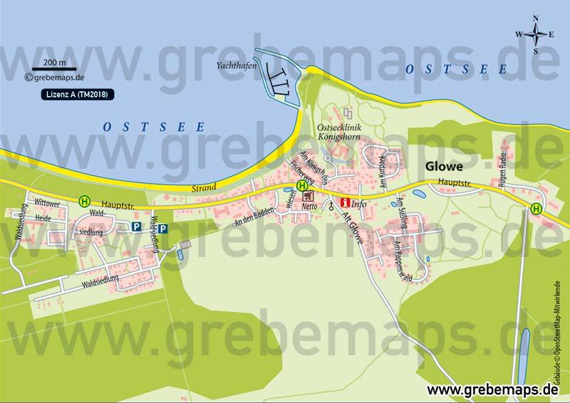 Ortsplan Glowe Rügen, Karte Glowe