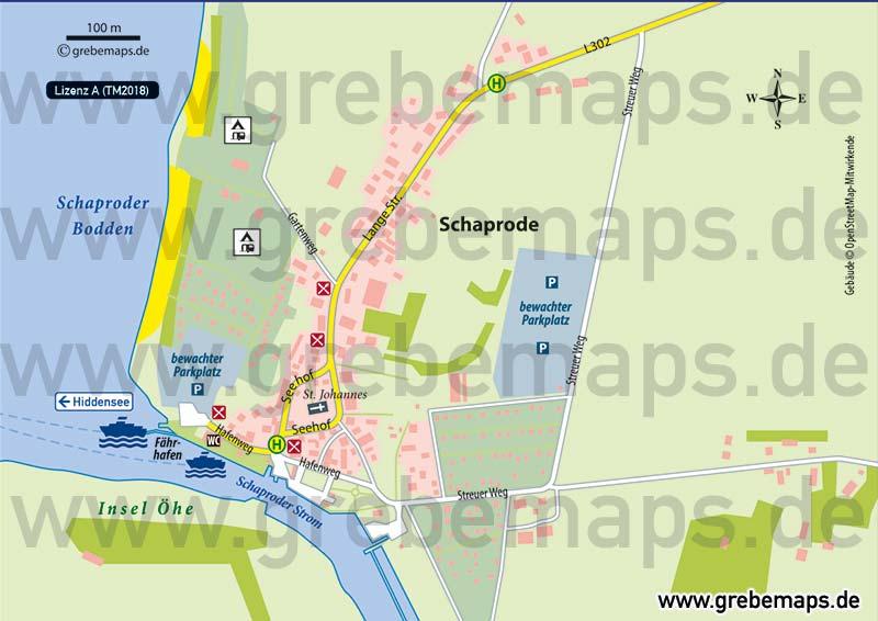 Ortsplan Schaprode Rügen, Karte Schaprode