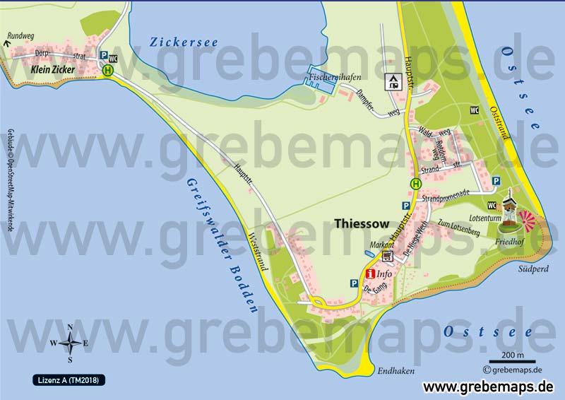 Ortsplan Thiessow Rügen