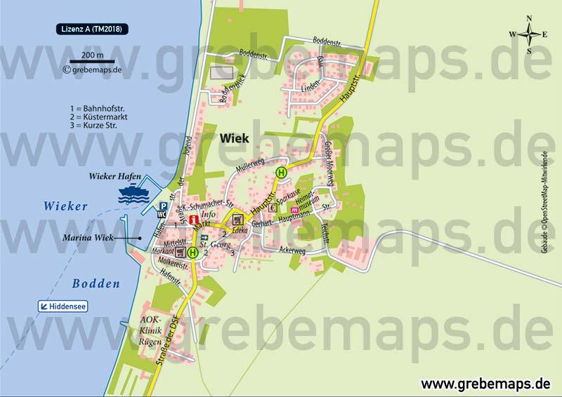Ortsplan Wiek Rügen, Karte Wiek
