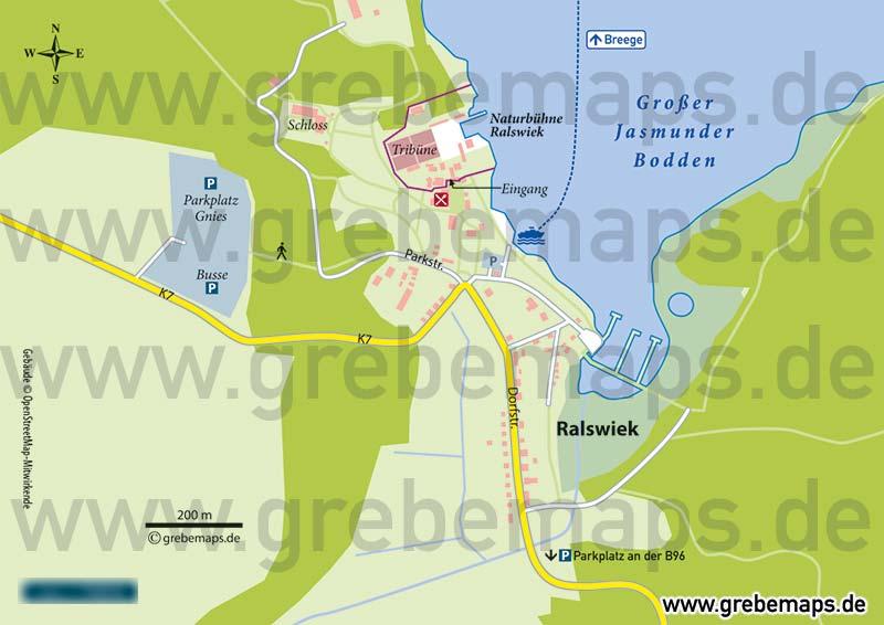 Karte Ralswiek Rügen, Ortskarte Ralswiek, Touristische Infokarte Ralswiek Rügen