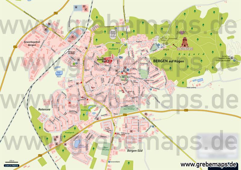 Ortsplan Sassnitz Auf Rügen, Karte Sassnitz, Ortskarte Sassnitz, Stadtplan Sassnitz