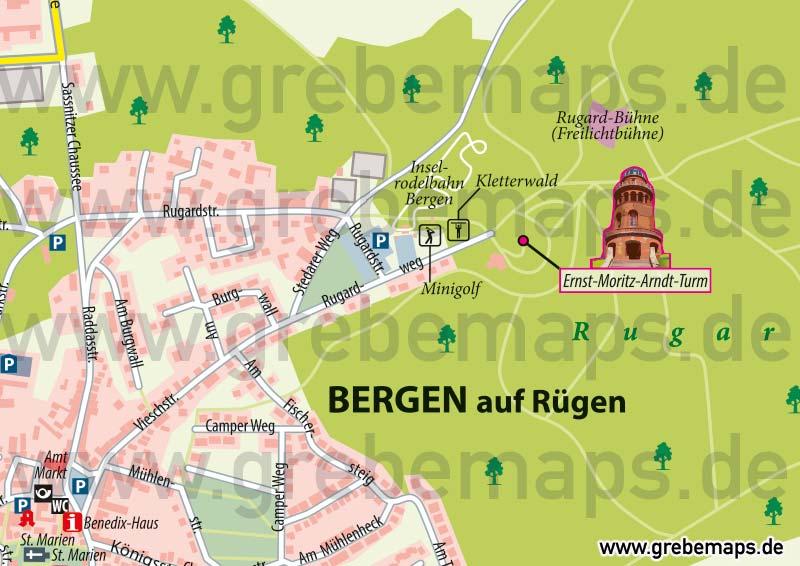 Ortsplan Bergen Auf Rügen, Karte Bergen Auf Rügen, Stadtplan Bergen Auf Rügen