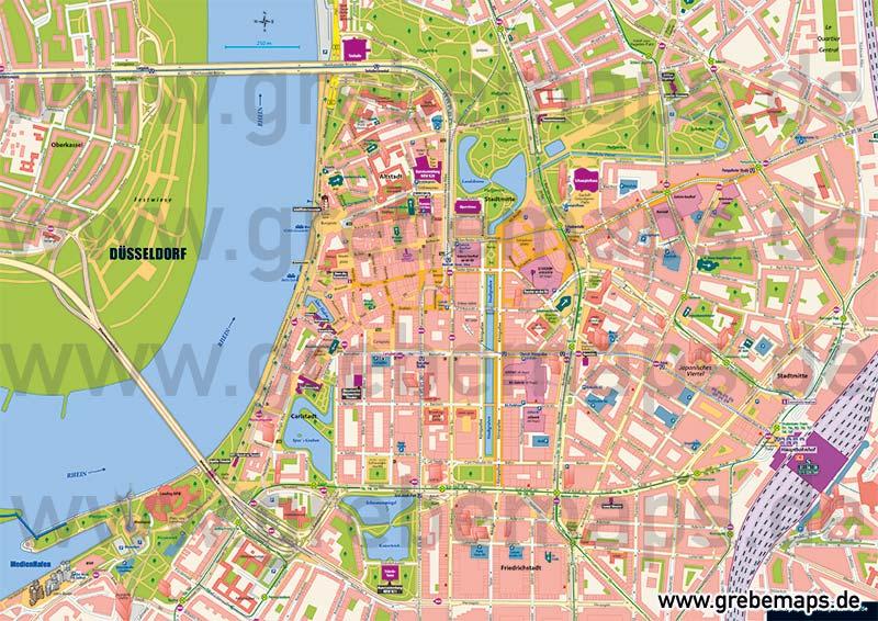 Stadtplan Düsseldorf-City Innenstadt, Stadtplan Düsseldorf-Stadtmitte, Karte Düsseldorf-Stadtmitte