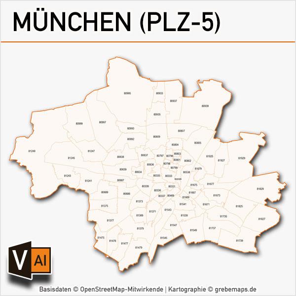 München Postleitzahlen-Karte PLZ-5 Vektor