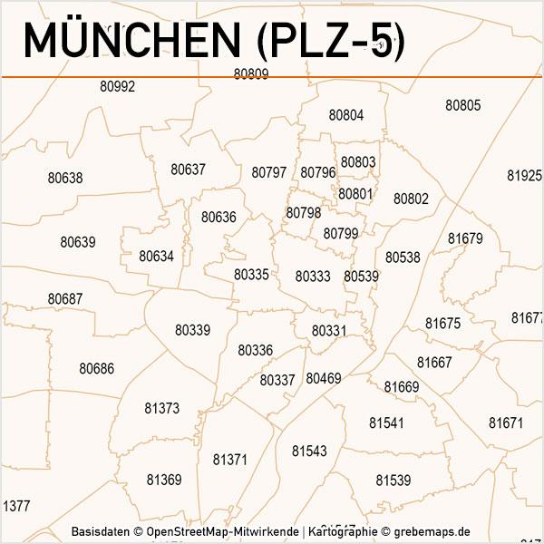 München Postleitzahlen-Karte PLZ-5 Vektor, Karte PLZ München 5-stellig, PLZ-Karte München, Vektorkarte München PLZ