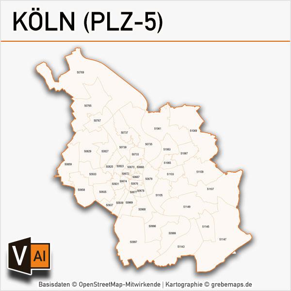Koln Postleitzahlen Karte Plz 5 Vektor Grebemaps Kartographie