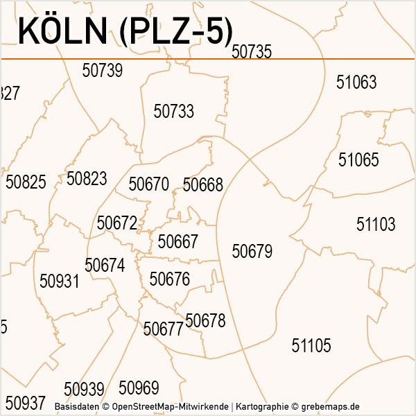 Köln Postleitzahlen-Karte PLZ-5 Vektor, Karte PLZ Köln 5-stellig, PLZ-Karte Köln, Vektorkarte Köln PLZ