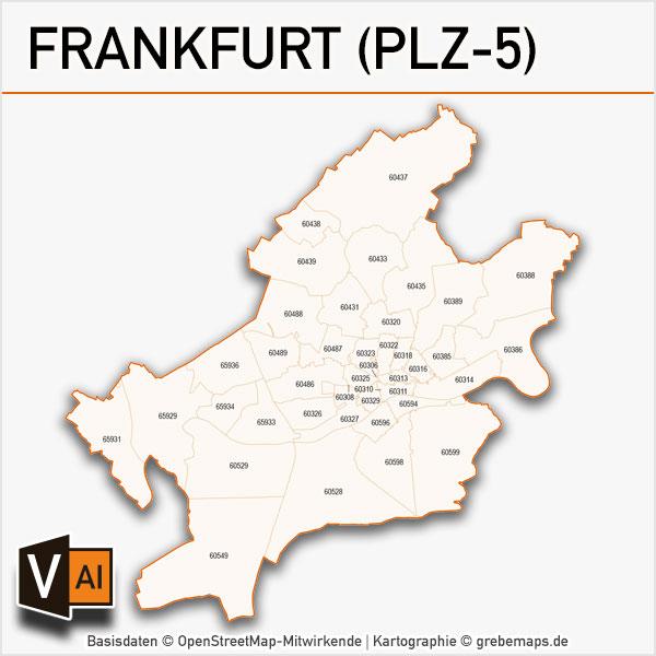 Frankfurt Postleitzahlen Karte Plz 5 Vektor Grebemaps Kartographie