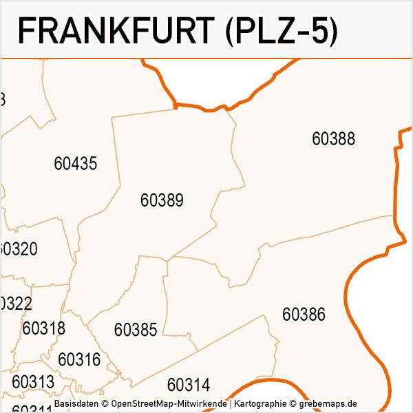 Frankfurt Postleitzahlen-Karte PLZ-5 Vektor, PLZ-Karte Frankfurt, Karte PLZ Frankfurt, Vektorkarte PLZ Frankfurt