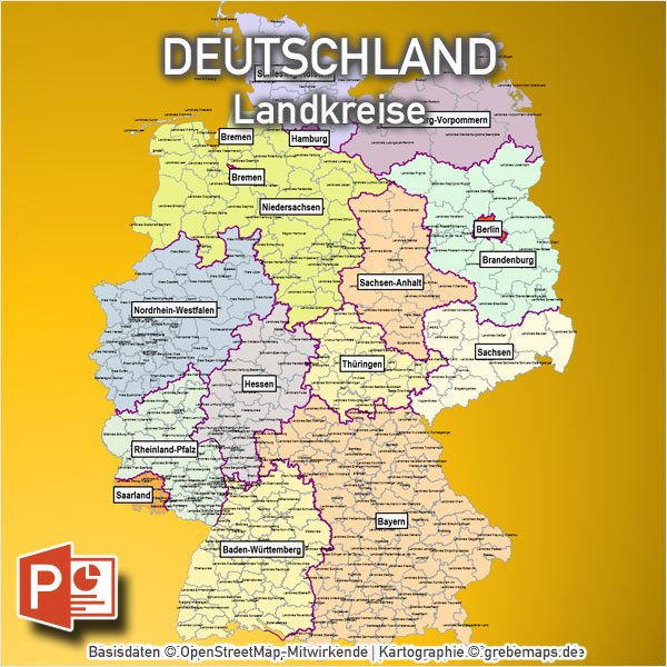 Deutschland PowerPoint-Karte Landkreise