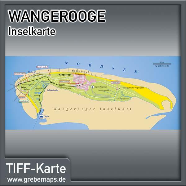 Inselkarte Wangerooge Nordseeheilbad (Lizenz XL)