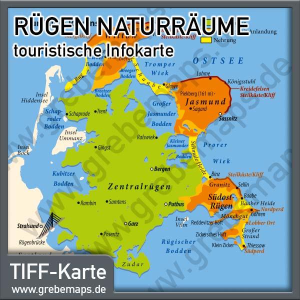 Karte Rügen Naturräume (Lizenz XL)
