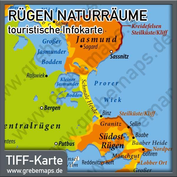 Karte Rügen Naturräume, Infokarte Rügen Naturräume, Touristische Karte Rügen Naturräume