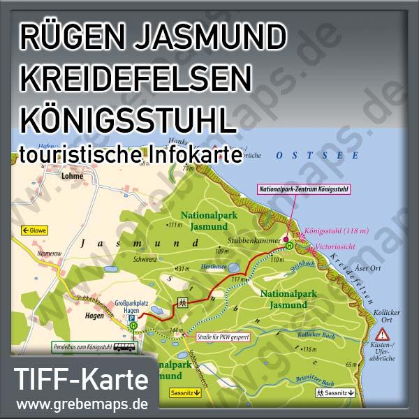 Karte Rügen Jasmund Kreidefelsen Königsstuhl