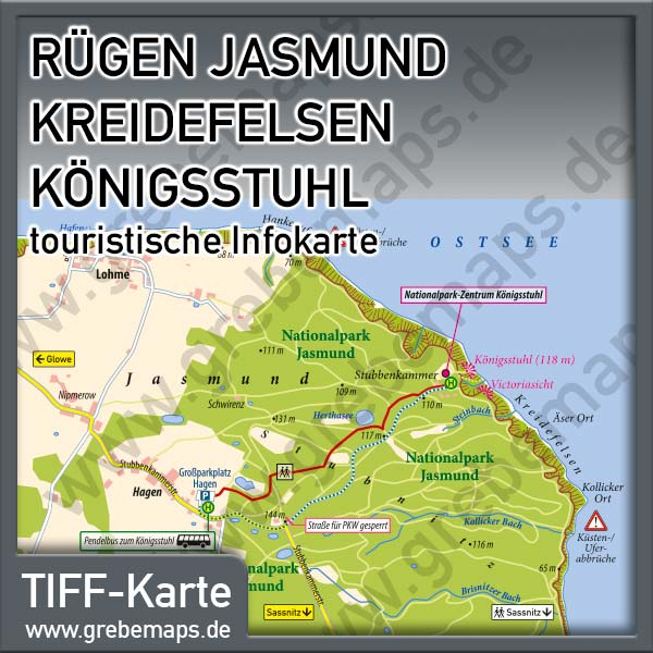 Karte Rügen Jasmund Kreidefelsen Königsstuhl (Lizenz XL)