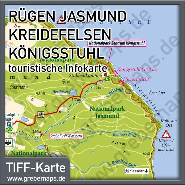 Karte Rügen Jasmund Kreidefelsen Königsstuhl, Infokarte, Touristische Karte